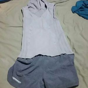 HTF, NUX light gray workout tank w/ hoodie, L